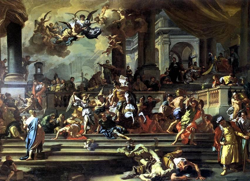 СОЛИМЕНА ФРАНЧЕСКО Гелиодор, изгоняемый из храма, 1725