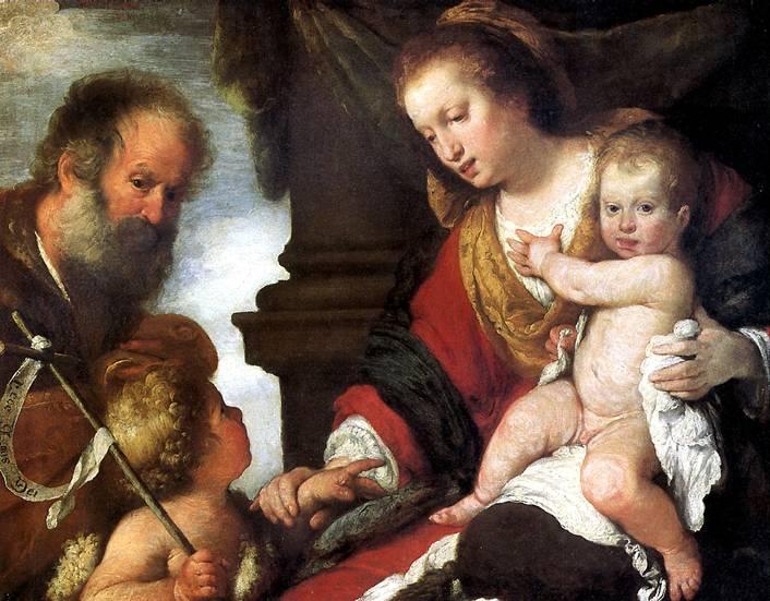 СТРОЦЦИ БЕРНАРДО Святое семейство со св. Иоанном Крестителем