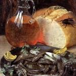 <b>ФЛЕГЕЛЬ ГЕОРГ Натюрморт с рыбой и бутылью вина</b>