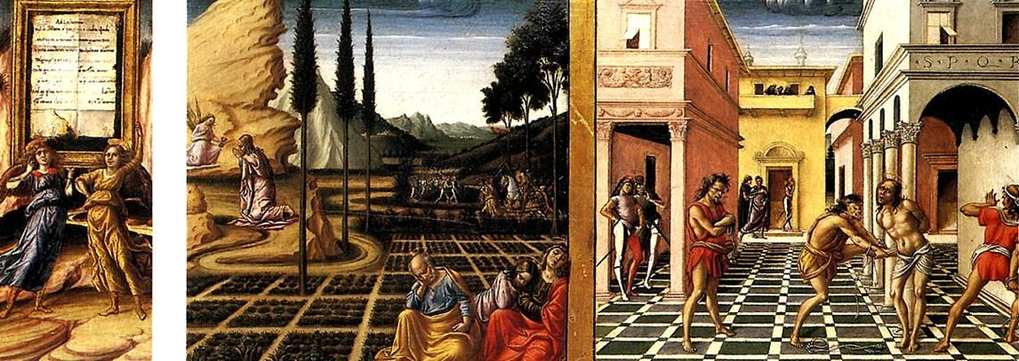 ФОЛИНЬО НИККОЛО ДА Два ангела, несущие мемориальное панно; Христос в Гефсиманском саду; Бичевание, 1492