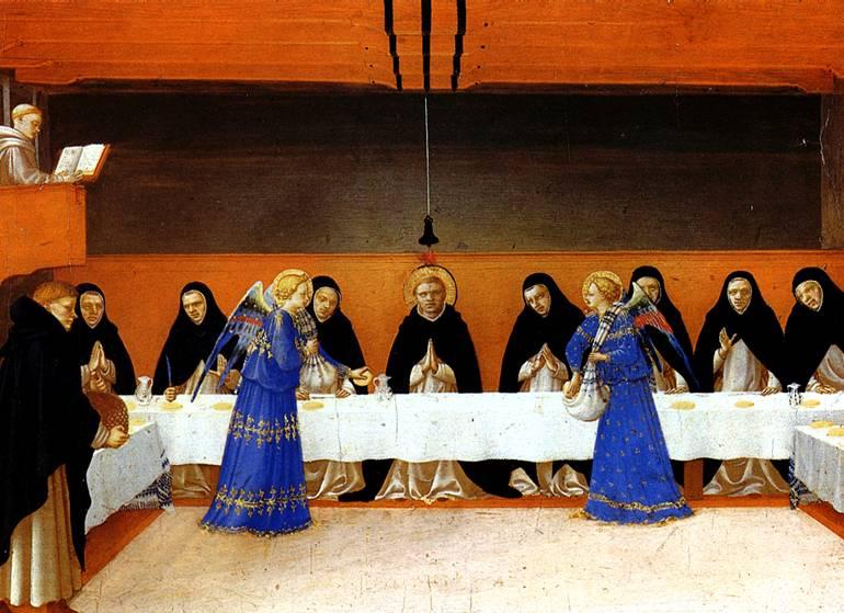 ФРА АНЖЕЛИКО Ангелы подают пищу монахам