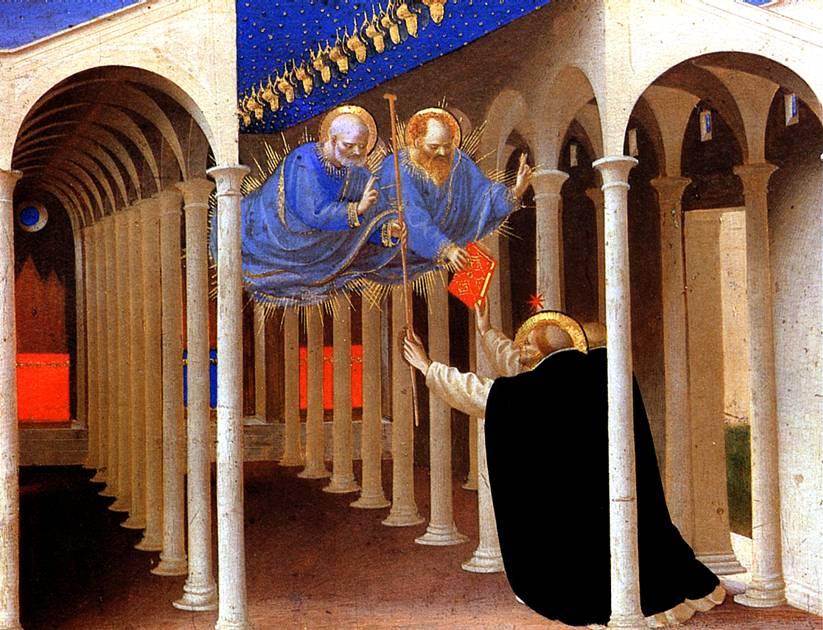 ФРА АНЖЕЛИКО Святые Петр и Павел являются св. Доминику