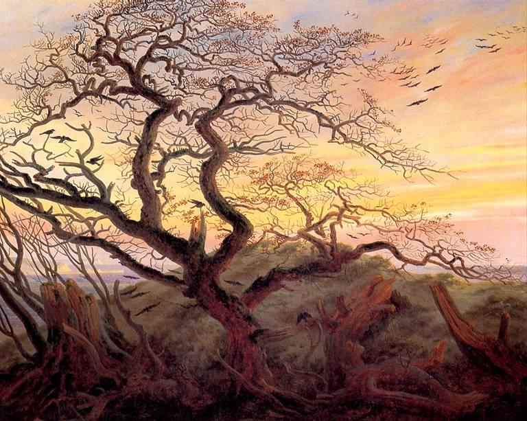 ФРИДРИХ КАСПАР ДАВИД Дерево с воронами; могильный курган у Балтийского моря и остров Рюген вдали