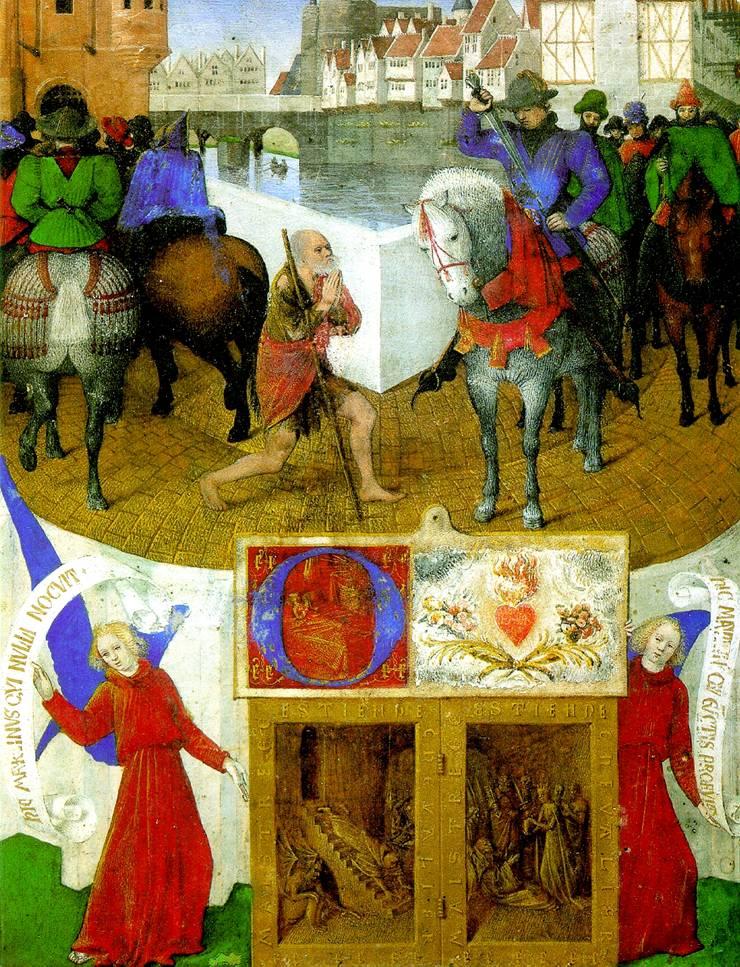 ФУКЕ ЖАН Святой Мартин и нищий (пергамент на дереве)