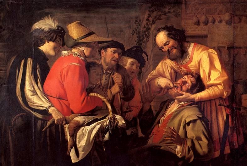 ХОНТХОРСТ ГЕРРИТ ВАН Вырывание зуба, 1628