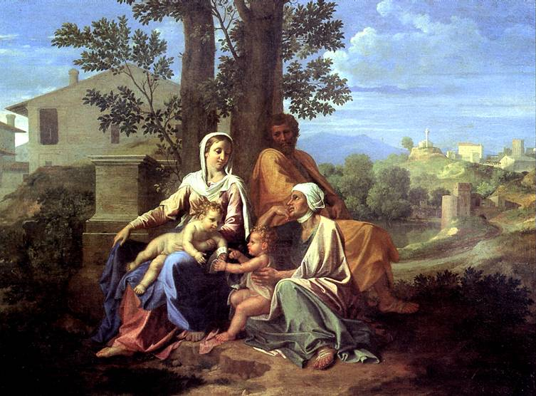 ПУССЕН НИКОЛА Святое семейство в пейзаже
