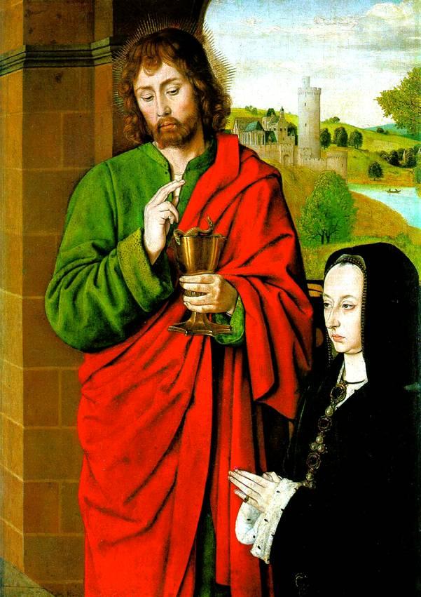 ХЭЙ ЖАН Анна Французская, герцогиня Бурбонская со святым патроном Иоанном Евангелистом