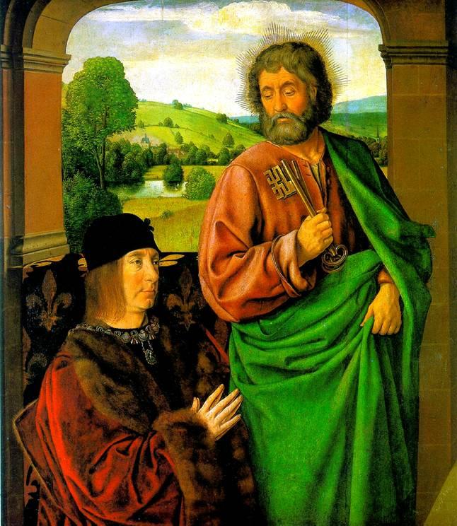 ХЭЙ ЖАН Пьер II, герцог Бурбонский со святым патроном апостолом Петром
