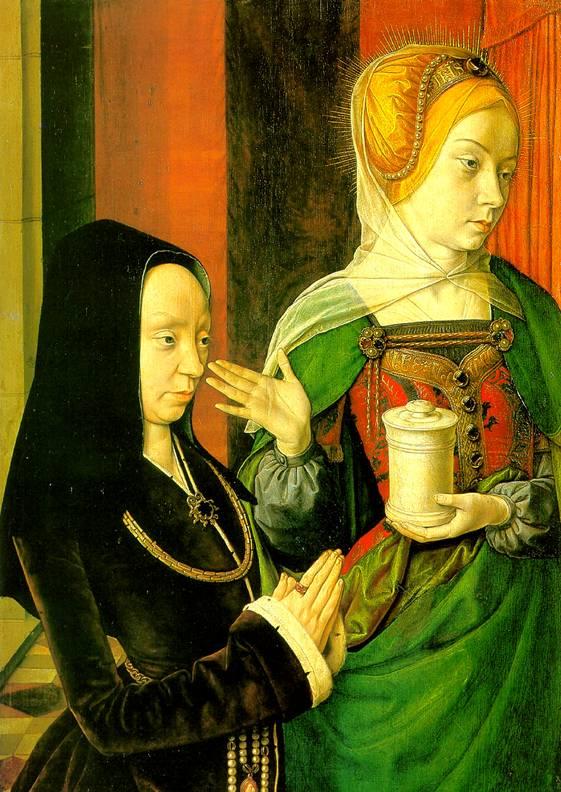 ХЭЙ ЖАН, РАНЕЕ НАЗЫВАВШИЙСЯ МАСТЕР ИЗ МУЛЕНА Предполагаемый портрет Мадлен Бургундской со святой Мадлен