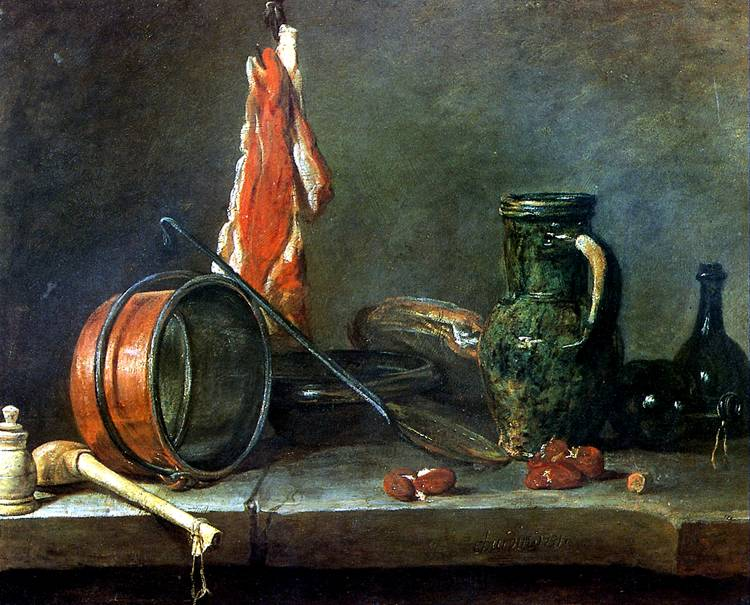 "ШАРДЕН ЖАН БАТИСТ СИМЕОН ""Скудная диета"" с кухонной посудой, 1731"