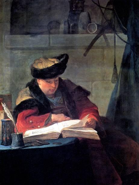 ШАРДЕН ЖАН БАТИСТ СИМЕОН Стеклодув (Портрет художника Жозефа Аве, известный как Химик в своей лаборатории), 1734