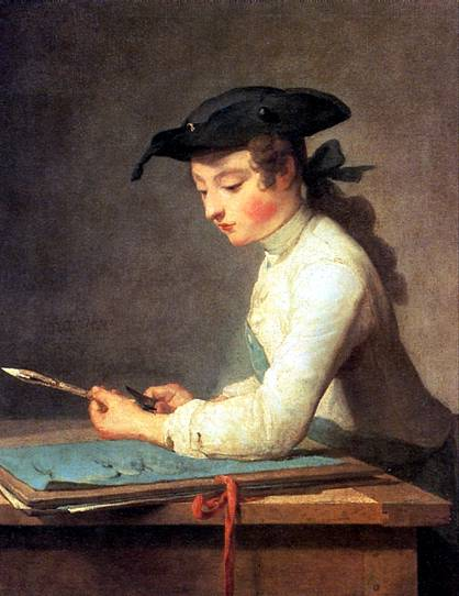ШАРДЕН ЖАН БАТИСТ СИМЕОН Юный рисовальщик, 1737