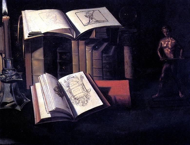 ШТОСКОПФ СЕБАСТЬЯН Натюрморт с книгами, свечой и бронзовой статуей