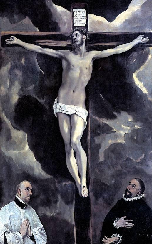 ЭЛЬ ГРЕКО Христос на кресте и два донатора