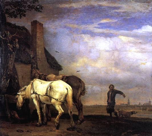 ПОТТЕР ПАУЛЮС Две лошади перед домом, 1649