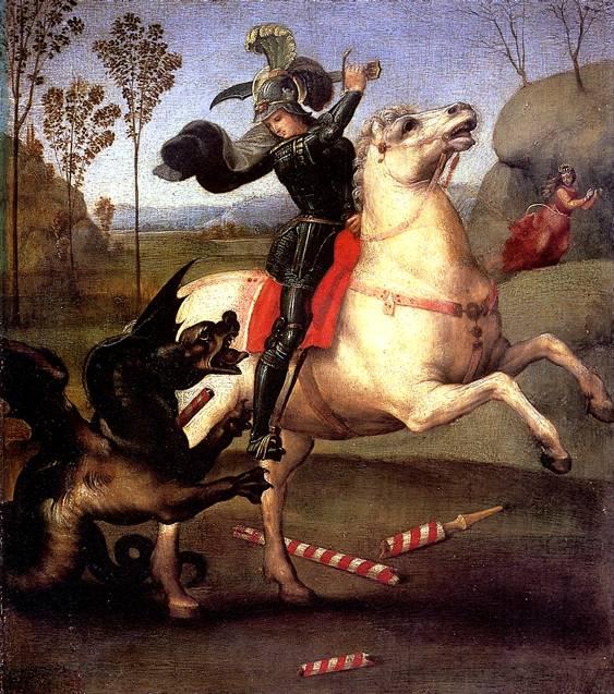 РАФАЭЛЬ Св. Георгий, побеждающий дракона, 1505