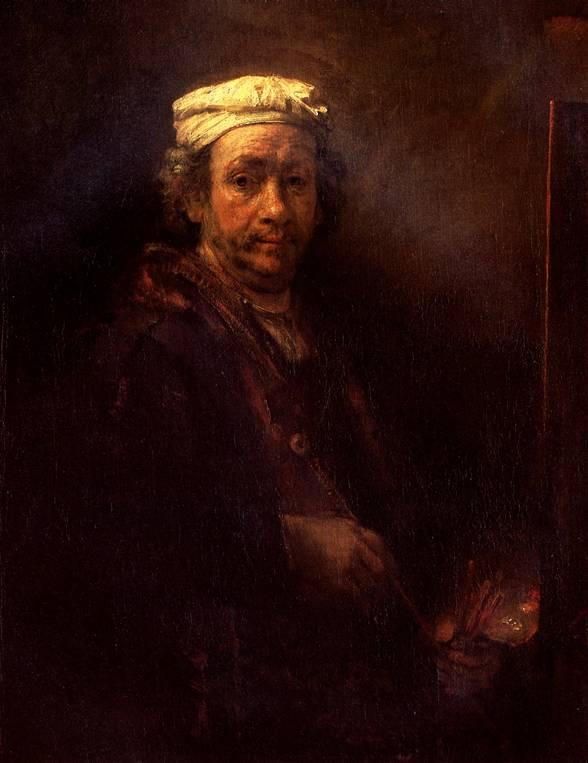 РЕМБРАНДТ Автопортрет за мольбертом, 1660