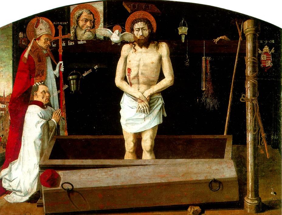 ПРОВАНСАЛЬСКАЯ ШКОЛА Новозаветная Троица с мертвым Христом, со св. Агриколусом и донатором — Бульбонский алтарь