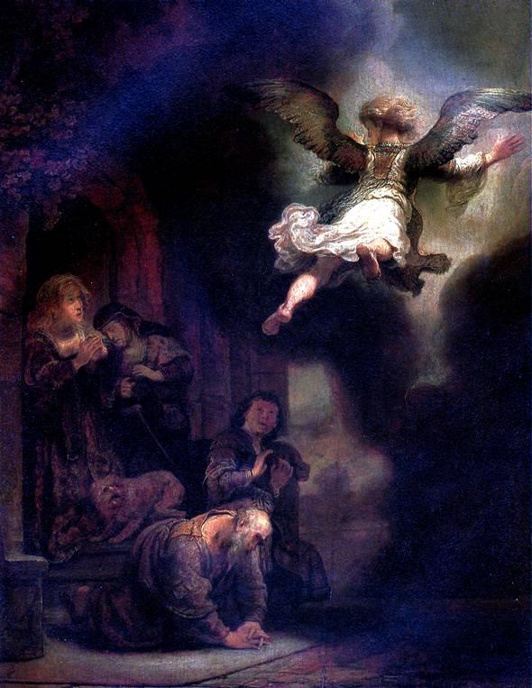 РЕМБРАНДТ Ангел, покидающий семейство Товия, 1637
