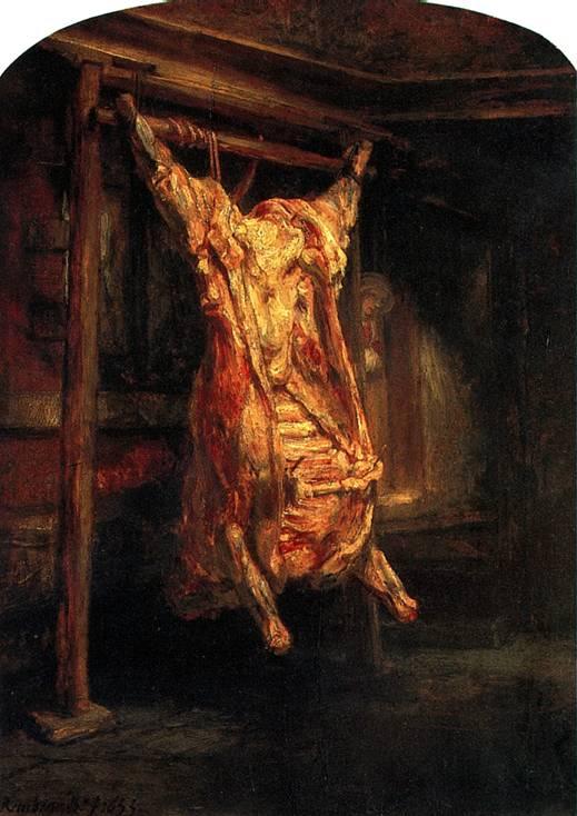 РЕМБРАНДТ Туша быка, 1655