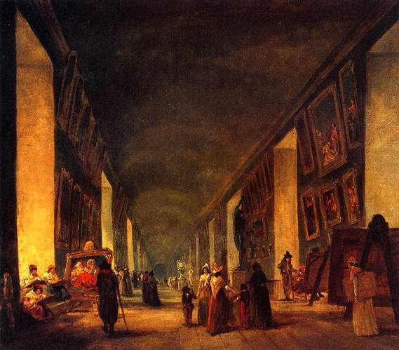 РОБЕР ЮБЕР Большая галерея Лувра между 1794-1796 гг.