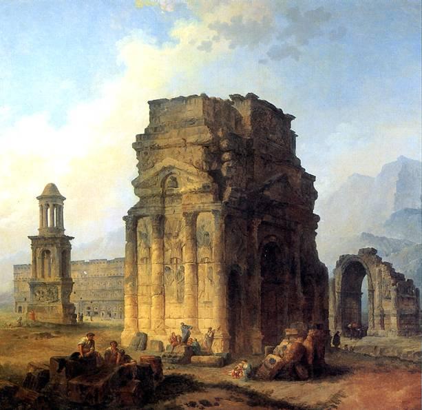 РОБЕР ЮБЕР Триумфальная арка и амфитеатр в Оранже